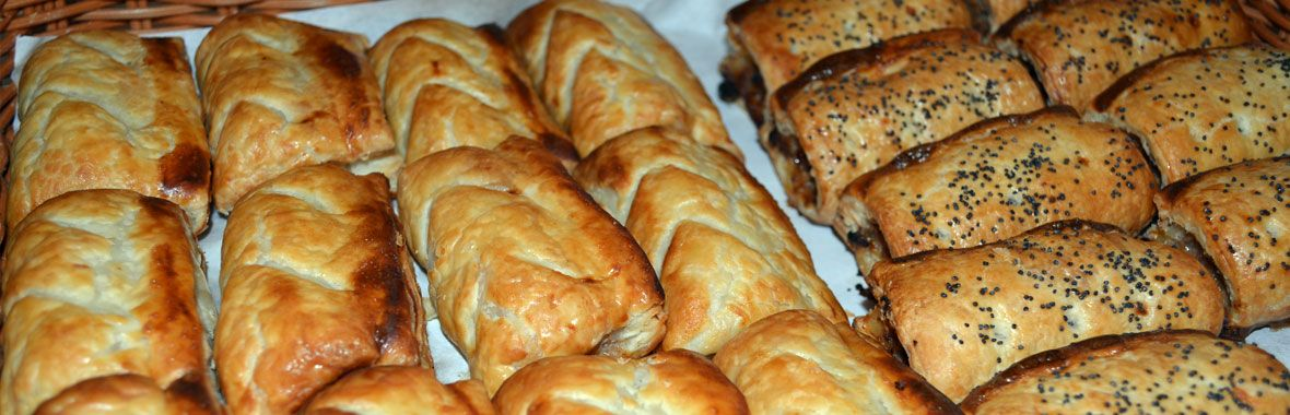 Baked pasties and sausage rolls